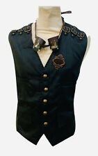 SDL Steampunk Black Suiting Waistcoat  Ensemble Goggles And Pin 48 Chest XL
