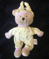 Kids II Plush Yellow Teddy Bear Rattle Lovey Security Toy Stuffed Animal Sleepy