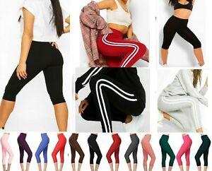 2021 women's hot sexy 3/4 Legging Viscose cropped jersey double side stripe UK