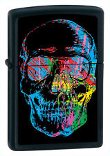 Zippo Windproof Skull Lighter, Finish Is Black Matte, 28042, New In Box