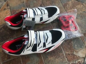 Venzo MX Womens Road Cycling Riding Shoes - 3 Straps Size 10 Black White And Red