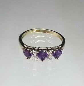 Beautiful Amethyst Hearts & Diamond Ring 9 Carat Gold Hallmarked Sz M