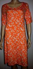 NEXT Orange White Daisy Print Cut Out Back Half Sleeve Summer Dress Size 12