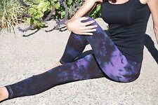 Black & Purple Tie Dye Yoga and Fitness Leggings Cotton/Span Sizes XXS-6XL