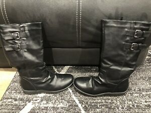 Womens Mid Calf Black Boots Size 9