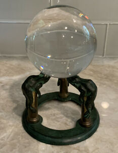 """Vintage Crystal Healing Clear Ball 3-1/4"""" Dia + Green Frog Brass Metal Stand"""