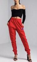 CHAMPION XS Joggers Reverse Weave Retro Chenille C Logo Pants Sweatpants Red