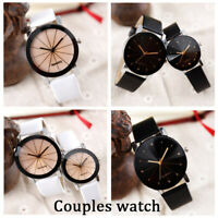Men's Women Leather Strap Line Analog Quartz Ladies Wrist Watches Couples Watch