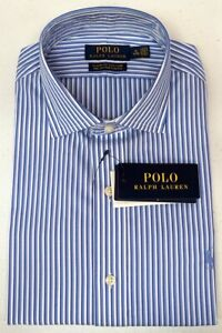 Polo Ralph Lauren Classic Fit Dress Shirt Cotton Stretch Blue White NEW NWT $89