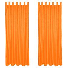 2x Rideau à passants polyester 245x137cm voilage occultant orange imprimé