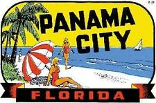 Panama City  Florida   Vintage 50's Style  Travel Decal sticker gulf coast beach
