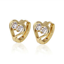 Small 9ct Gold Filled Heart Shape White CZ Earrings Womens Girls 9K GF BE748