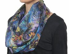 Gorgeous Floral Peacock Chiffon Infinity Circle Fashion Designer Scarf Blue