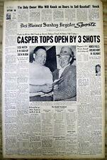 6 1959 newspapers BILLY CASPER wins US OPEN GOLF Tournament WINGED FOOT GOLF CLU