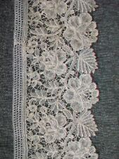 """Antique Ecru Brussels Lace 4"""" 19th Century Floral Leaves; 1 yard 32"""" length"""