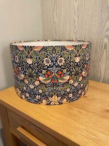 Handmade Lampshade in Navy William Morris Strawberry Thief Fabric, Various sizes