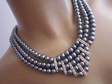 STRASS Collier Damen Hals Kette Modekette kurz Perlen Grau Silber Statement p509
