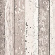 DISTRESSED WOOD PANEL WALLPAPER ROLLS NATURAL - AS CREATION 855053 TEXTURED
