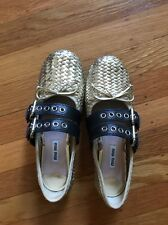 Miu Miu Ballet Flats Golden With Leather Straps 37.5