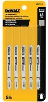 DEWALT Jig Saw 5 pc Blade Set 3 Inch 18TPI T-Shank Medium Metal USA DW3774-5