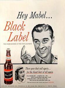 1956 Black Label Premium Bottled Beer Original Vintage Magazine Print Ad