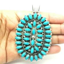 Turquoise Petit Point Oval Sterling Silver 925 Pendant  43g GSM001