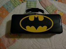 Dc Comics Batman Black Tool Tin Pencil/Pen Case with Handle Latch & Hinge New!