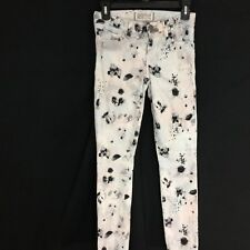 Elizabeth and James Skinny Jean White Black Blush Floral Ozzy Textile Stretch 24