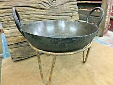 Old vintage genuine old  iron Indian cooking Bowl Kadai & Use Fire pit pot