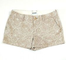 "Old Navy Womens Shorts 6 Khaki White Print Inseam 3"" Summer Beach Women's W31"