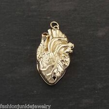 Anatomical Heart Locket - 14K Gold Plated Sterling Silver - Love Real Heart NEW