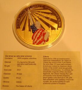2013 THE STATUE OF LIBERTY layered in 24k gold proof medal