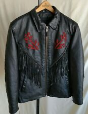Motorcycle Jacket Womens Lge Black Leather Fringed Red Roses NWOT ZipOut Lining