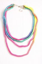 Funky Artsy Look Four Colourful Rainbow Colours Ropes Belt w Gold Clip (S452)