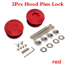 Universal One Pair Red Push Button Billet Hood Pins Lock Clip Car Quick Release