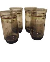 Set of 4 Vintage AMBER TUMBLERS Drinking Glasses Red Flowers Green Vines Corelle