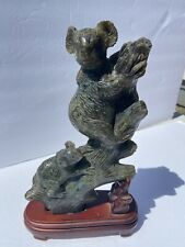 RARE LG VINTAGE CARVED LABRADORITE KOALA BEAR AND BABY SCULPTURE STATUE FIGURINE