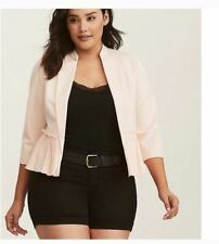 Torrid 2 X Jacket Blazer Stretch Blush Light Pink Ponte Chiffon Mix Peplum NEW