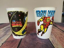 VTG 1975 Marvel Comics Super Heroes IRON MAN Captain Marvel Plastic 7-11 Cup LOT