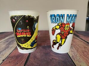 VTG 1975 Marvel Comics Super Heroes IRON MAN Captain Marvel Plastic 7-11 Cup LOT