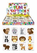 72 Woodland Animal Temporary Tattoos - Toy Loot/Party Bag Fillers Childrens/Kids