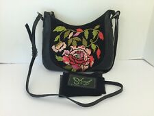 Sharif Genuine Leather Cross Body Purse Black w Needlepoint Roses Storage Bag