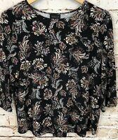 J Jill wearever shirt womens medium 3/4 sleeve top black floral B9