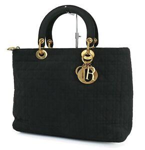 Authentic CHRISTIAN DIOR Black Quilted Nylon Lady Dior Handbag Purse #40787