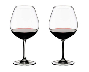 Riedel® Vinum Pinot Noir (Burgundy Red) Wine Glasses (Set of 2) New without box.