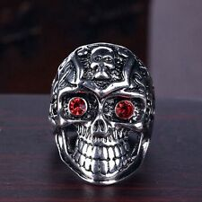 Men Cool Stainless Steel Antique Silver Plated Totem Red Crystal Eyes Skull Ring