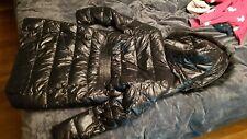 Karen Millen Black Shiny Puffer Coat Feather Down Hood padded jacket UK6 RRP 350