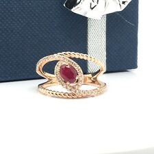 14k solid rose gold diamond and ruby ring July Birthstone