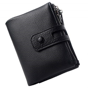 Small Leather Wallet for Women, RFID Blocking Credit Card Holder Ladies Black