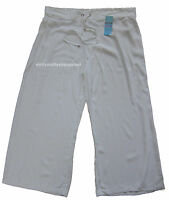 New Womens Marks & Spencer White Wide Leg Beachwear Trousers Size 20 DEFECTS
